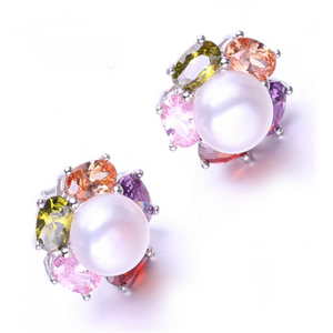 Perla Venus - Colorful CZ Diamonds & Freshwater Pearl Sterling Silver Drop Earrings - LA MIA CARA JEWELRY - 1