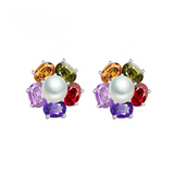Perla Venus - Colorful CZ Diamonds & Freshwater Pearl Sterling Silver Drop Earrings - LA MIA CARA JEWELRY - 2