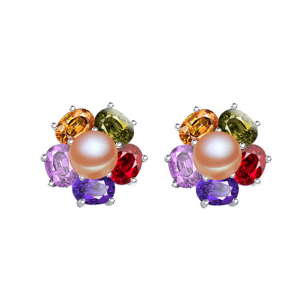 Perla Venus - Colorful CZ Diamonds & Freshwater Pearl Sterling Silver Drop Earrings - LA MIA CARA JEWELRY - 3