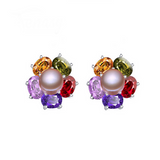 Perla Venus - Colorful CZ Diamonds & Freshwater Pearl Sterling Silver Drop Earrings - LA MIA CARA JEWELRY - 4