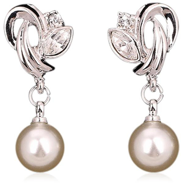 Perla di Signora -  Pearl & CZ Diamonds Rose Gold/Silver Dangle Earrings - LA MIA CARA JEWELRY - 1