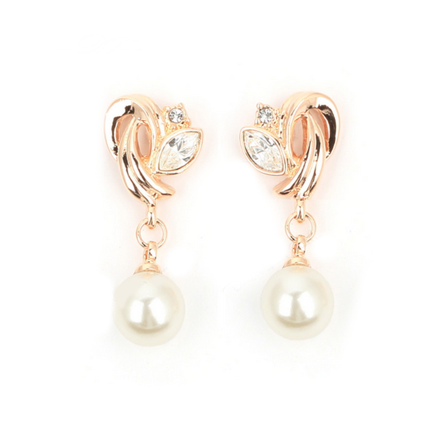 Perla di Signora -  Pearl & CZ Diamonds Rose Gold/Silver Dangle Earrings - LA MIA CARA JEWELRY - 3