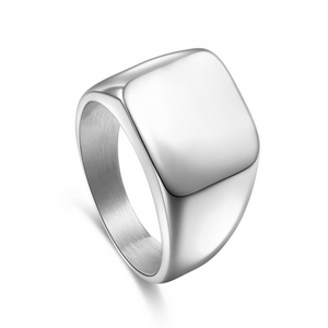 Men's Jewelry- Piazza - 3 Colors High Polished Signet Solid Stainless Steel Ring - LA MIA CARA JEWELRY