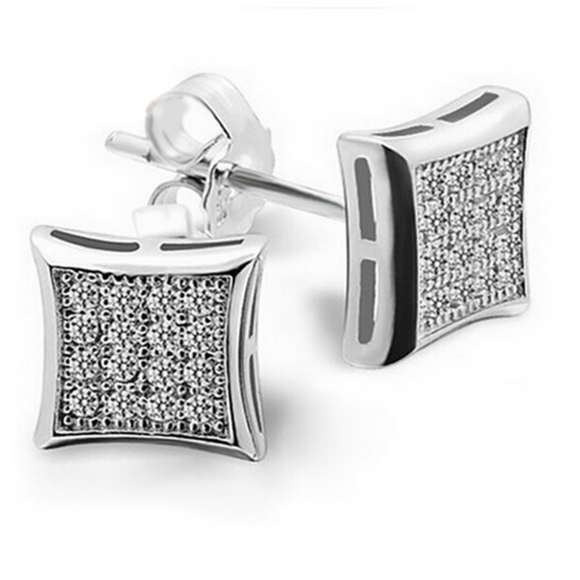Piazzetta - CZ Diamonds White Gold Square Stud Earrings - LA MIA CARA JEWELRY