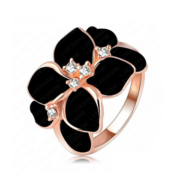 Cocktail Ring -Piccolo Fiore - Enamel Flower with Swarovski Crystals Rose Gold Ring - LA MIA CARA JEWELRY - 2