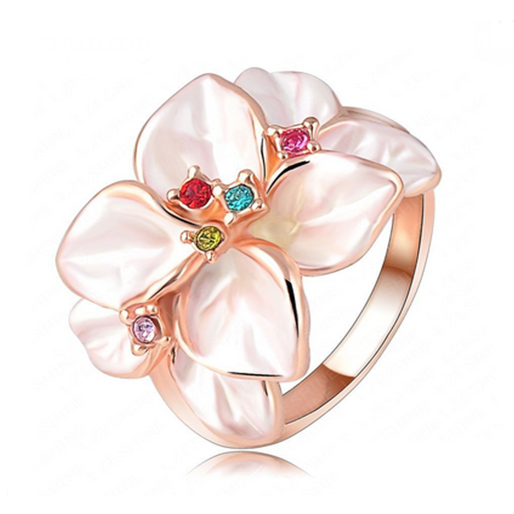 Cocktail Ring -Piccolo Fiore - Enamel Flower with Swarovski Crystals Rose Gold Ring - LA MIA CARA JEWELRY - 1