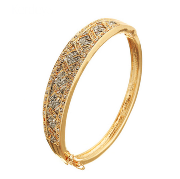 Piera - CZ Diamond Gold Bangle - LA MIA CARA JEWELRY