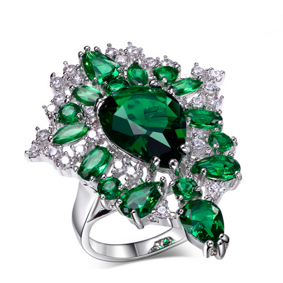 Statement Ring -Prestigio - Emerald Green or Montana Blue CZ Diamond Platinum Ring - LA MIA CARA JEWELRY - 1