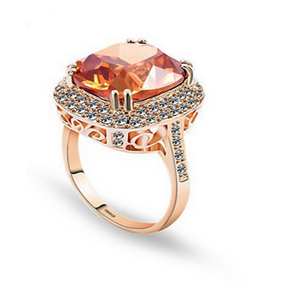Statement Ring -Preziosa - Top Luxury Chocolate CZ Diamond Rose Gold Ring - LA MIA CARA JEWELRY