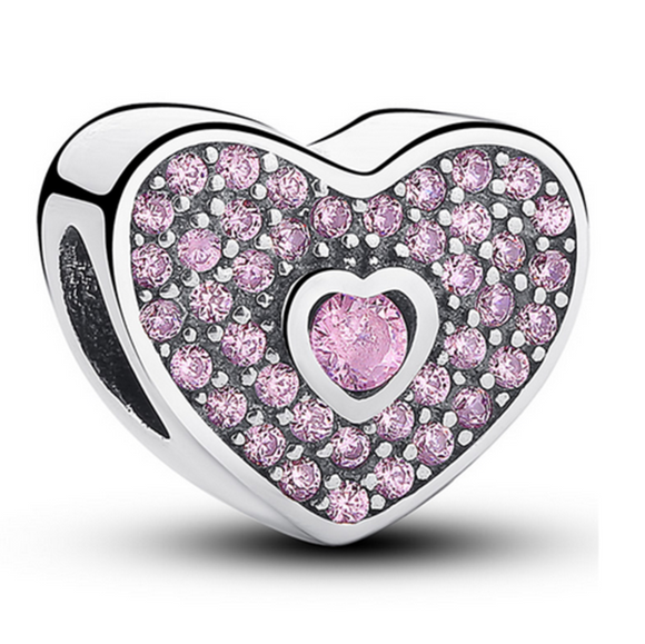 Principessa Charm - 11 Variants of  Unique CZ Diamonds Sterling Silver Heart  Charm - LA MIA CARA JEWELRY - 1