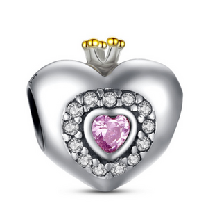 Principessa Charm - 11 Variants of  Unique CZ Diamonds Sterling Silver Heart  Charm - LA MIA CARA JEWELRY - 5