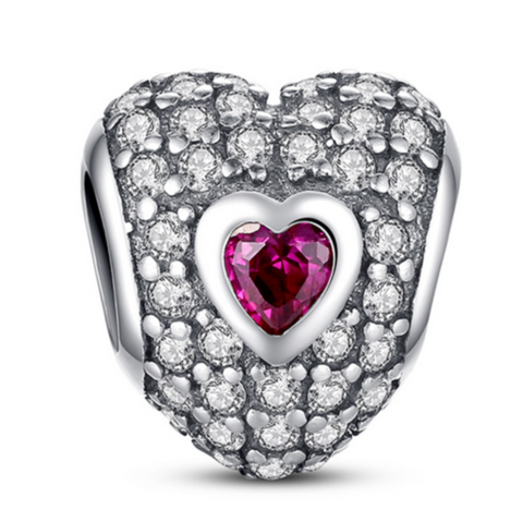 Principessa Charm - 11 Variants of  Unique CZ Diamonds Sterling Silver Heart  Charm - LA MIA CARA JEWELRY - 6