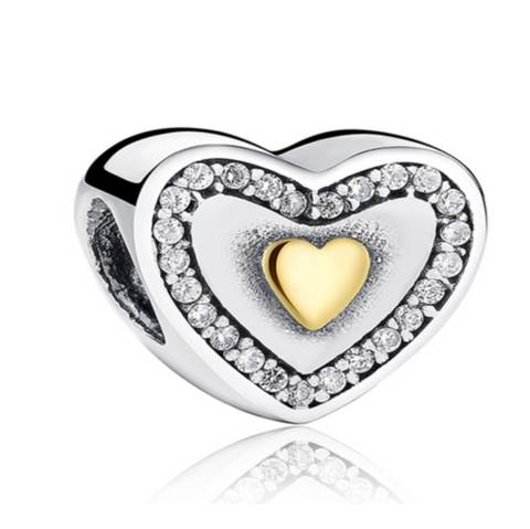 Principessa Charm - 11 Variants of  Unique CZ Diamonds Sterling Silver Heart  Charm - LA MIA CARA JEWELRY - 9