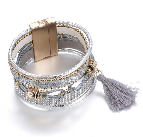 Prodigalità -  Vintage Silver Crystal Leather Bracelet Women And Men - LA MIA CARA JEWELRY