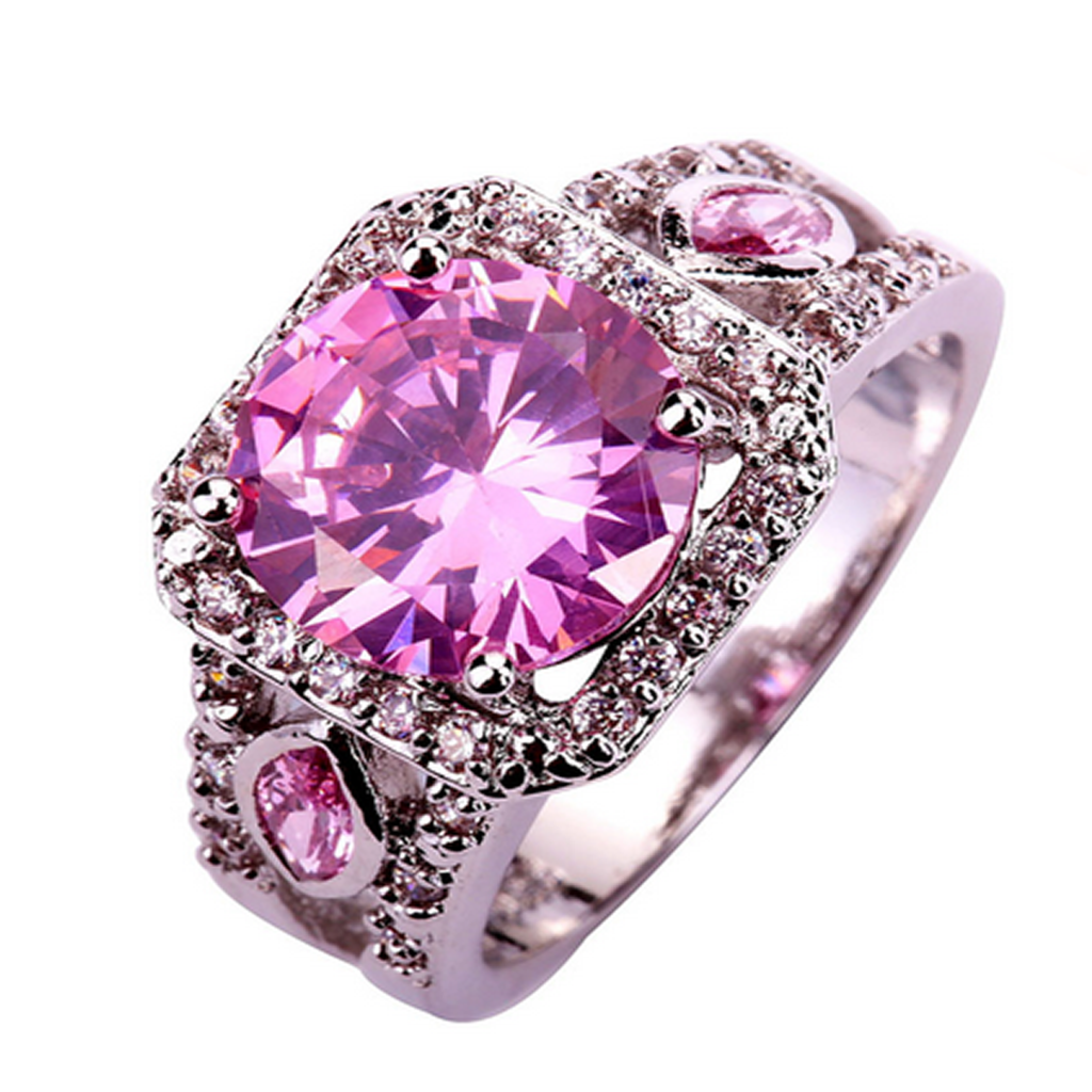 Statement Ring - Provence Lavender -  Pink & White Sapphire Sterling Silver Ring - LA MIA CARA JEWELRY
