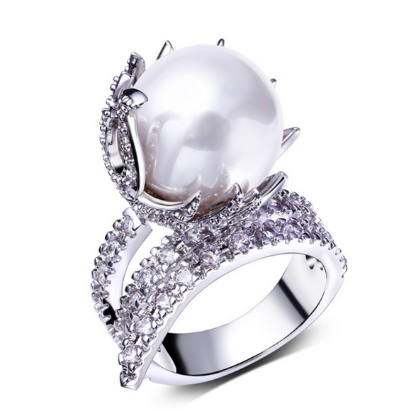 Cocktail Ring- Rococò - White Pearl & CZ Diamonds Gold/Platinum Ring - LA MIA CARA JEWELRY - 2