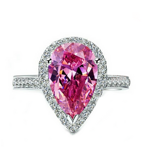 Cocktail Ring - Rosa Romance - Pink CZ Diamond Silver Ring - La Mia Cara Jewelry