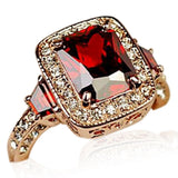Cocktail Ring  -Rosso Medici - Ruby Red Swarovski Crystal & CZ Diamonds Rose Gold Ring - LA MIA CARA JEWELRY - 2