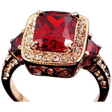 Cocktail Ring  -Rosso Medici - Ruby Red Swarovski Crystal & CZ Diamonds Rose Gold Ring - LA MIA CARA JEWELRY - 3