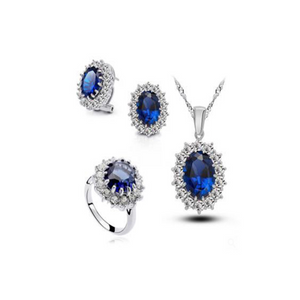 Royal Blue Sapphire - CZ Diamonds Silver Ring & Necklace & Earrings Set - LA MIA CARA JEWELRY - 1