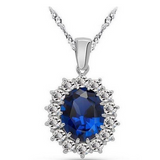Royal Blue Sapphire - CZ Diamonds Silver Ring & Necklace & Earrings Set - LA MIA CARA JEWELRY - 3