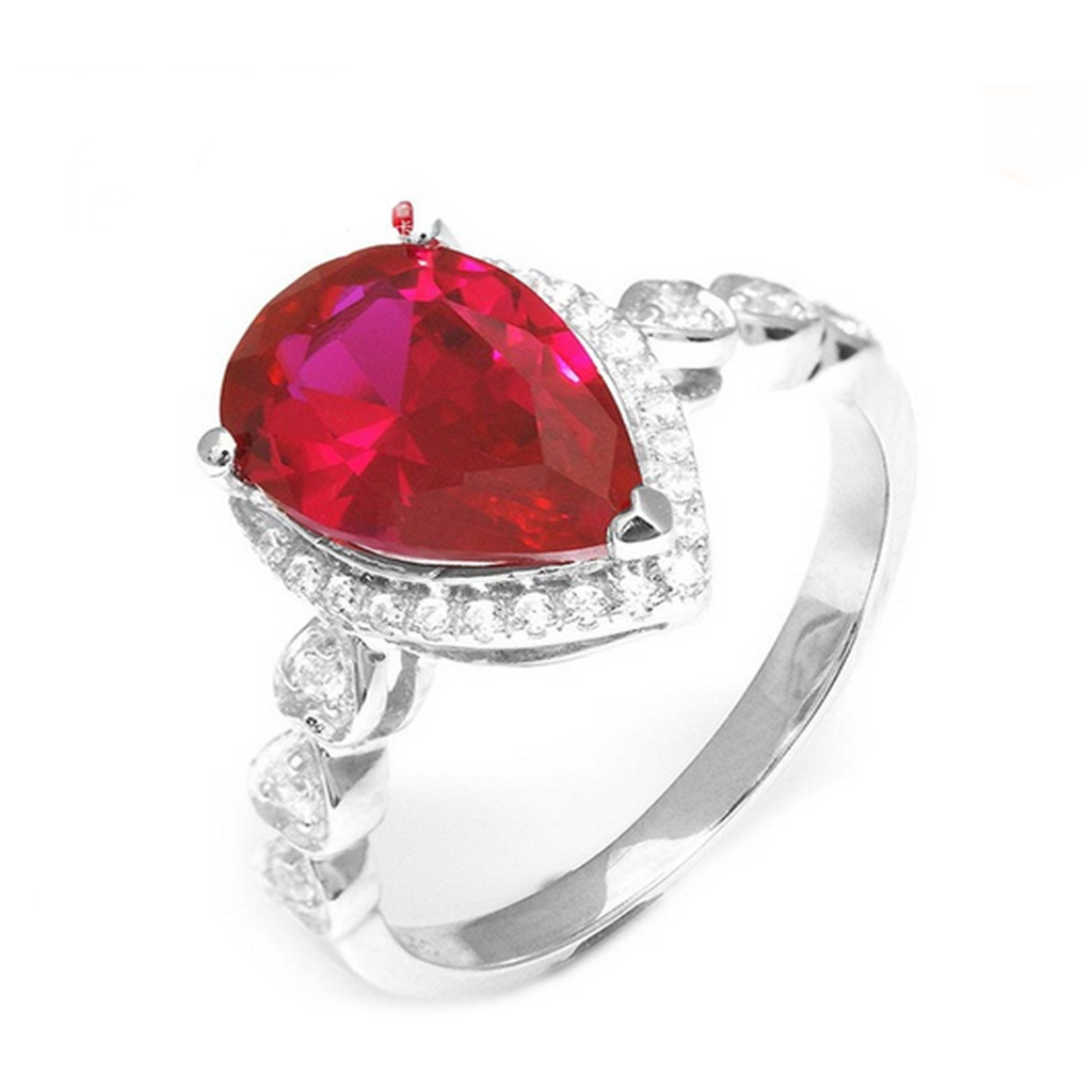 Cocktail Ring -Rubino Amore - Pigeon Blood Red Ruby & CZ Diamonds Sterling Silver Ring - LA MIA CARA JEWELRY