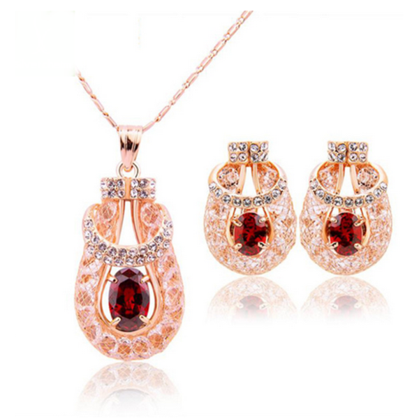 Rubino Caro - CZ Diamonds Rose Gold Necklace & Earrings Set - LA MIA CARA JEWELRY - 1