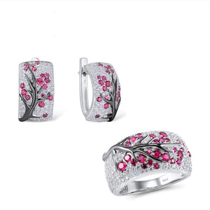 La Mia Cara Jewelry - SANTUZZA - Shiny Delicate Pink & White Earring Ring Set