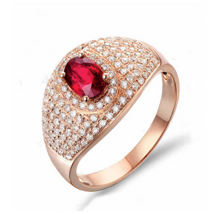 Engagement Ring - Sadhana - Red Blood Ruby Diamond - La Mia Cara JewelryRose Gold Ring