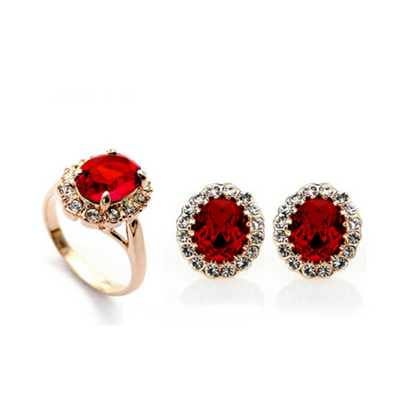 Samina  Rosso - CZ Diamonds & Swarovski Crystals Gold Earring & Ring Set - LA MIA CARA JEWELRY