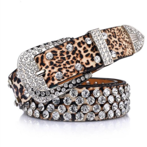 Leopardo Cintura Di Pelle - Luxury Rhinestones Leopard Print Leather Belts