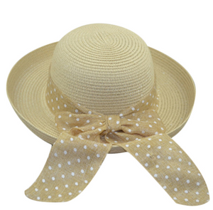 La Mia Cara - Cappelli Estate- Khaki Handcrafted Bowknot Floppy Straw Sun Hat with Dot Ribbon