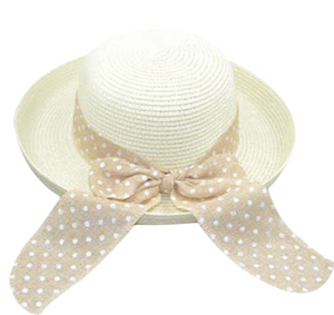 La Mia Cara - Cappelli Estate- White Handcrafted Bowknot Floppy Straw Sun Hat with Dot Ribbon