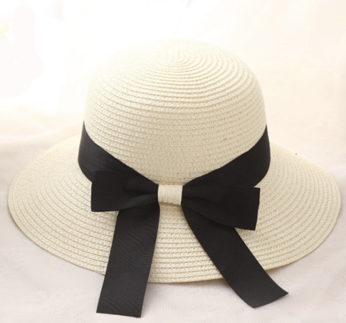 cf835516dab La Mia Cara - Cappelli Estate - Milk Handcrafted Bowknot Big Brim Sun Hat  with Black