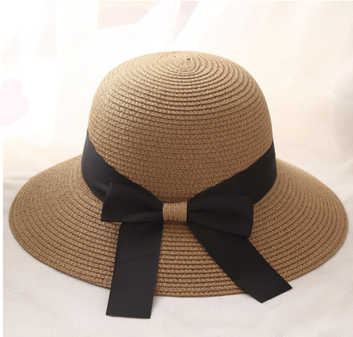 3b967f41f85 La Mia Cara - Cappelli Estate- Caramel Handcrafted Bowknot Big Brim Sun Hat  with Black ...