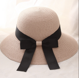 La Mia Cara - Cappelli Estate- Rose Handcrafted Bowknot Big Brim Sun Hat with Black Ribbon