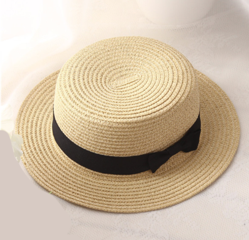 La Mia Cara - Cappelli Estate -Beige Handcrafted Female Fedora with Wide Brim Flat Top