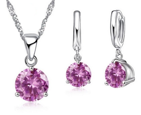 LA MIA CARA JEWELRY - Emilia- S925 Silver CZ Diamond Jewelry Set