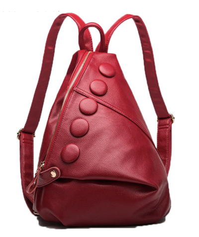Red Bonnie - Fashionable Genuine Leather Backpack