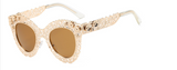 La Mia Cara Jewelry - MADRID BROWN - CAT EYE METAL LACE CUT FASHION SUNGLASSES