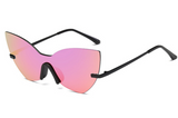 Los Angeles Pink - Cat Eye Rimless Shades Oversized Mirror Sun Glasses for Women