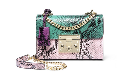 La Mia Cara  - Cherin Green -Genuine Leather Snake Pattern Shoulder Bag