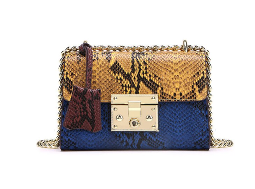 La Mia Cara  - Cherin Yellow - Genuine Leather Snake Pattern Shoulder Bag