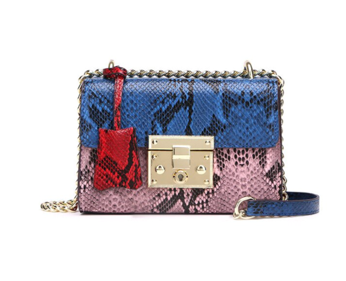 La Mia Cara  - Cherin Blue - Genuine Leather Snake Pattern Shoulder Bag