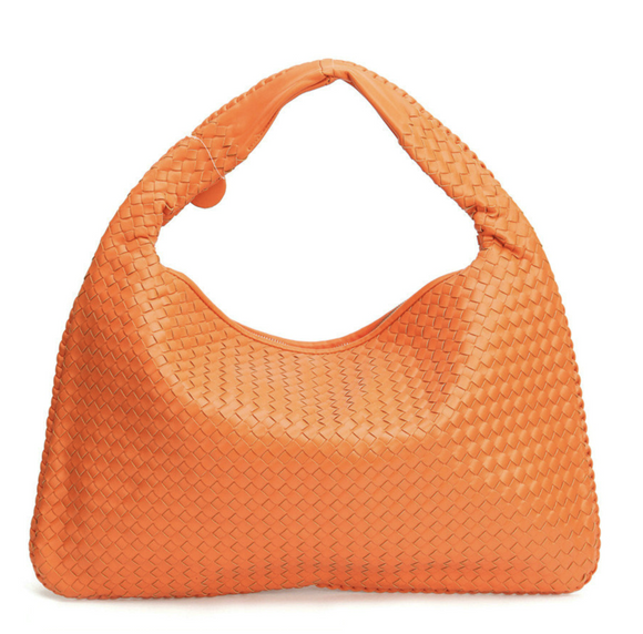 La Mia Cara - Samantha Orange - Celebrity vintage woven Faux leather hobo shoulder handbag