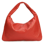 La Mia Cara - Samantha Red - Celebrity vintage woven Faux leather hobo shoulder handbag