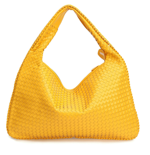 Samantha Yellow- Celebrity vintage woven Faux leather hobo shoulder handbag