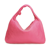 La Mia Cara - Samantha Pink- Celebrity vintage woven Faux leather hobo shoulder handbag
