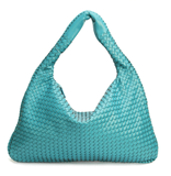Samantha Turquoise - Celebrity vintage woven Faux leather hobo shoulder handbag
