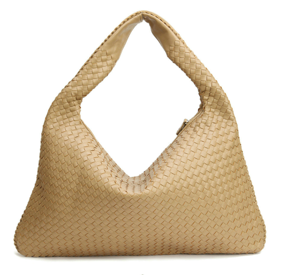La Mia Cara - Samantha Beige - Celebrity vintage woven Faux leather hobo shoulder handbag